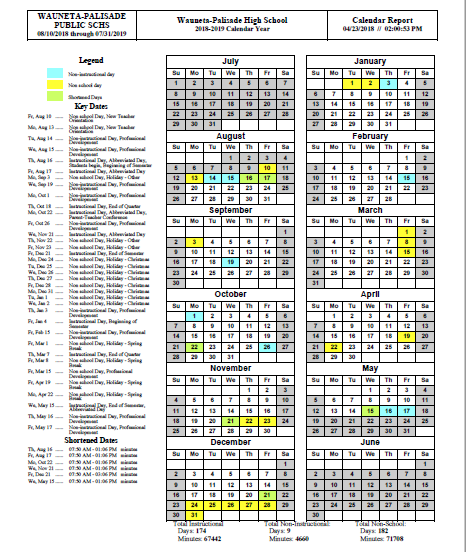 Wauneta-Palisade Schools - 2018-2019 School Calendar