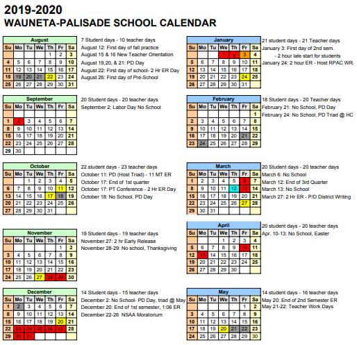 Wauneta-Palisade Schools - 2019-2020 WP School Calendar